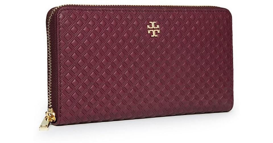 c71fc777370 Tory Burch Red Burgundy New Continental Zip Around Bag Wallet - Tradesy