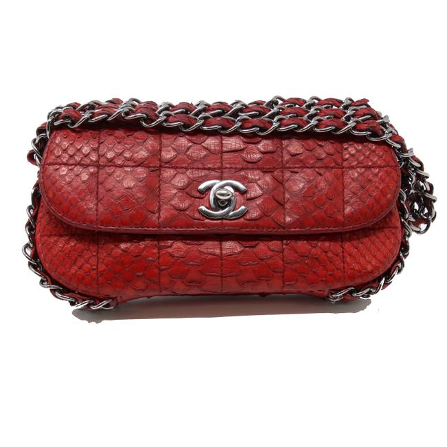 Item - Classic Flap Quilted Python Snakeskin Triple Chain Cc Mini Red Lambskin Leather Baguette