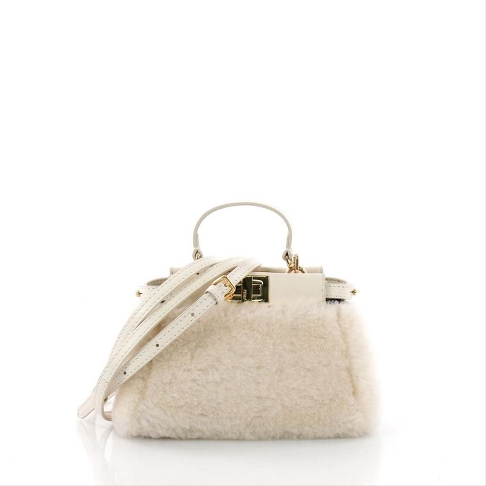 9fd0817c6e8a Fendi Peekaboo Handbag Micro Off-white Shearling Wool Shoulder Bag ...