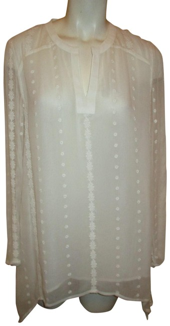 Item - Ivory Embroidered Sheer Lace Trim Tunic Size 4 (S)
