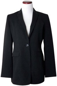 Jones New York Vintage Long Fitted Made In Philippines Black With Fine White Pinstripes Blazer