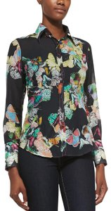 Georg Roth Los Angeles Butterfly Cotton Silk Floral Button Down Shirt