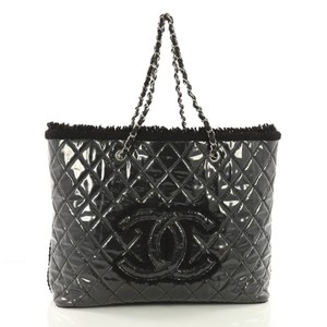 Chanel Tweed Vinyl Tote in black