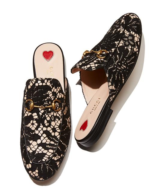 Item - Black/Pink/Gold Women's Princetown Lace and Leather Mules/Slides Size US 6 Regular (M, B)