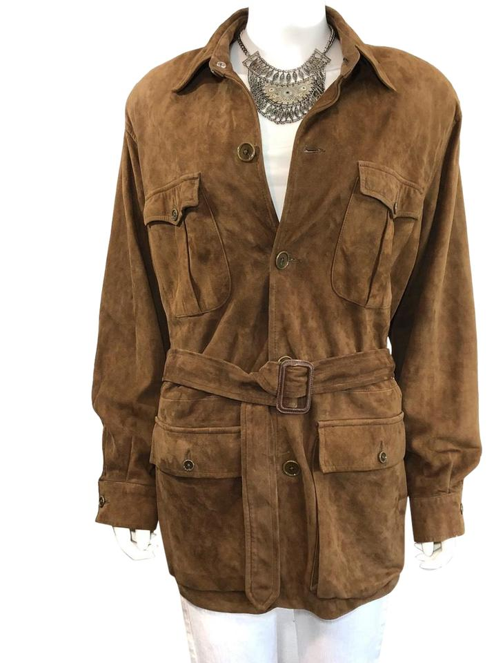 ec216f137 Ralph Lauren Collection Brown Vintage - Tobacco Suede Belted Safari  Motorcycle Trench Jacket