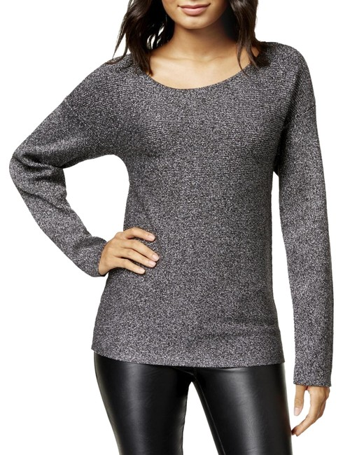 Item - L Iii Twisted Open-back Metallic Silver Gray Sweater