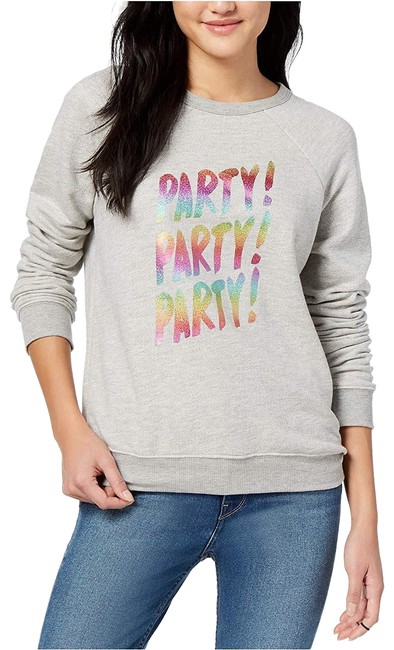 Item - Gray Women's Party Party Cotton Graphic-print Large Sweatshirt/Hoodie Size 14 (L)