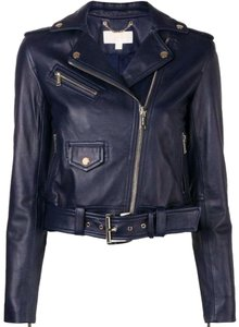 Michael Kors Navy Leather Jacket