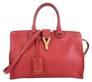 Saint Laurent Leather Satchel Tote in red
