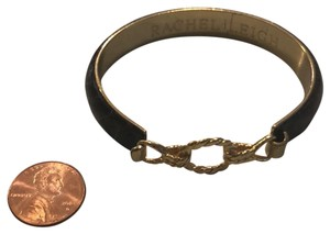 Rachel Leigh Brown Leather and Gold Bracelet with Hook Closure