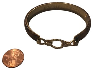 Rachel Leigh Gold and Leather Bracelet with Hook Closure