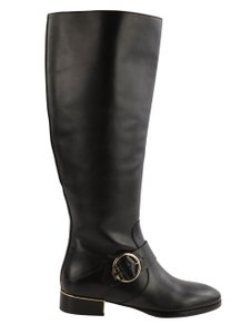 Tory Burch Leather Gold Hardware Black Boots