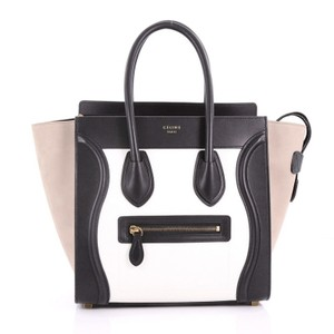 2d4eea9775 Céline Handbag Leather Tote in black and white with beige