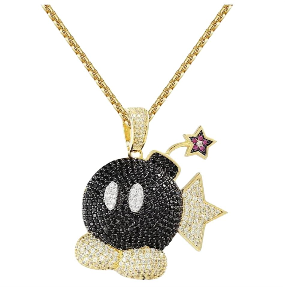 1e5195982eb76 Master Of Bling Men's Iced Out Cartoon Character Game Bomb Pendant Necklace  55% off retail