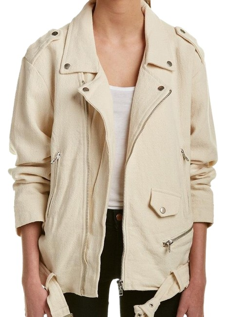 Item - Cream Linen Blend Moto Jacket Size 6 (S)