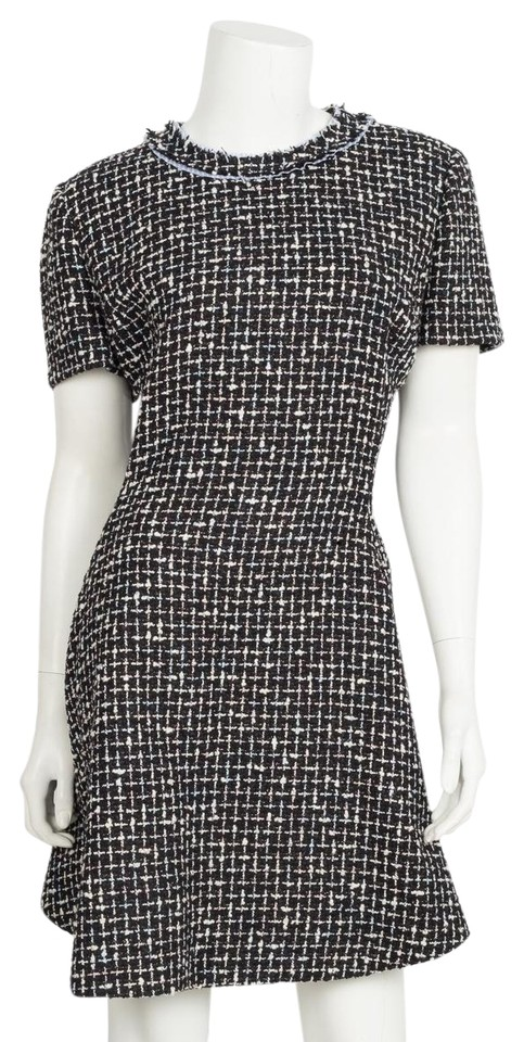 e77f7a78149 Dior Blue Christian and White Tweed Sleeve Short Cocktail Dress Size ...