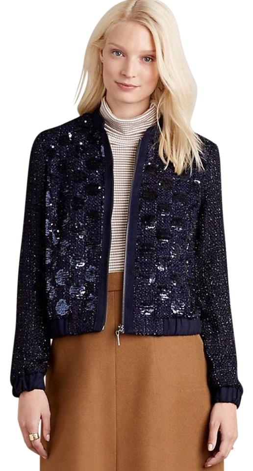 656a6ce19136 Anthropologie Navy Blue Elevenses Sequin Bomber Jacket Size 2 (XS ...