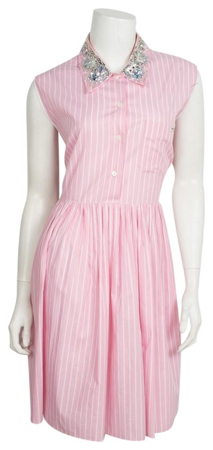 Item - Pink And White Stripe 48 Short Cocktail Dress Size 10 (M)