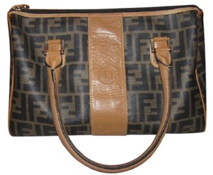 Fendi M-l Size Great For Everyday Classic Style Mint Vintage Satchel in Large F logo print Coated Canvas & camel Leather