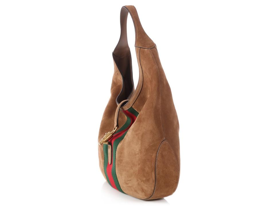 Gucci Jackie Large Web Soft Brown Suede Leather Hobo Bag - Tradesy 5b433303f8d2c