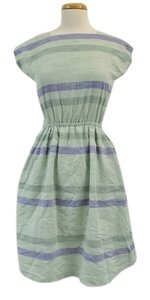 Evan Davies short dress Blue Green Vintage Beach Stripe Cutout Cutaway Cut-out Linen on Tradesy