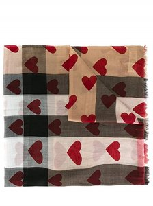 Burberry Burberry Lightweight Check Red Heart Scarf Made in Italy