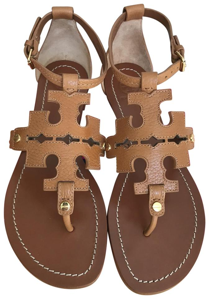aa4f71d1512cd Tory Burch Brown 10m Elba Tumbled Leather Flat Thong Sandals Size US ...