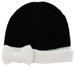 Kate Spade Fine Gauge Jersey Bow Cuff Knit Wool Beanie Cap Bi-color Monochrome