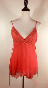 Arden B. Silk Camisole Tunic Shirt Sequined Top Pink