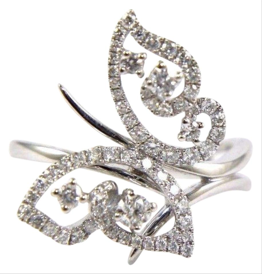 12d4085882c3f White Cluster Diamond Lady's Butterfly Cocktail 18k Gold .63ct Ring 37% off  retail