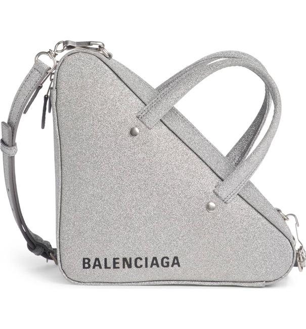 Item - Extra Small Glitter Triangle Silver Leather Cross Body Bag