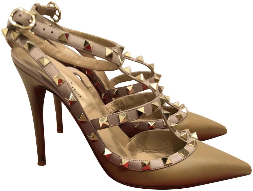 78c1d4b9112 Valentino Rockstud Gucci Louis Vuitton Louboutin Nude Brown Taupe Pumps  Image 0 ...