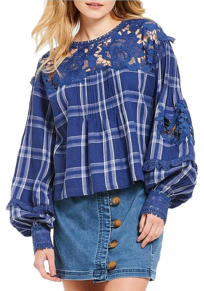 5de020d5c2174 Free People Navy Darling Diana Long Sleeve Lace Plaid Blouse. Size  2 ...
