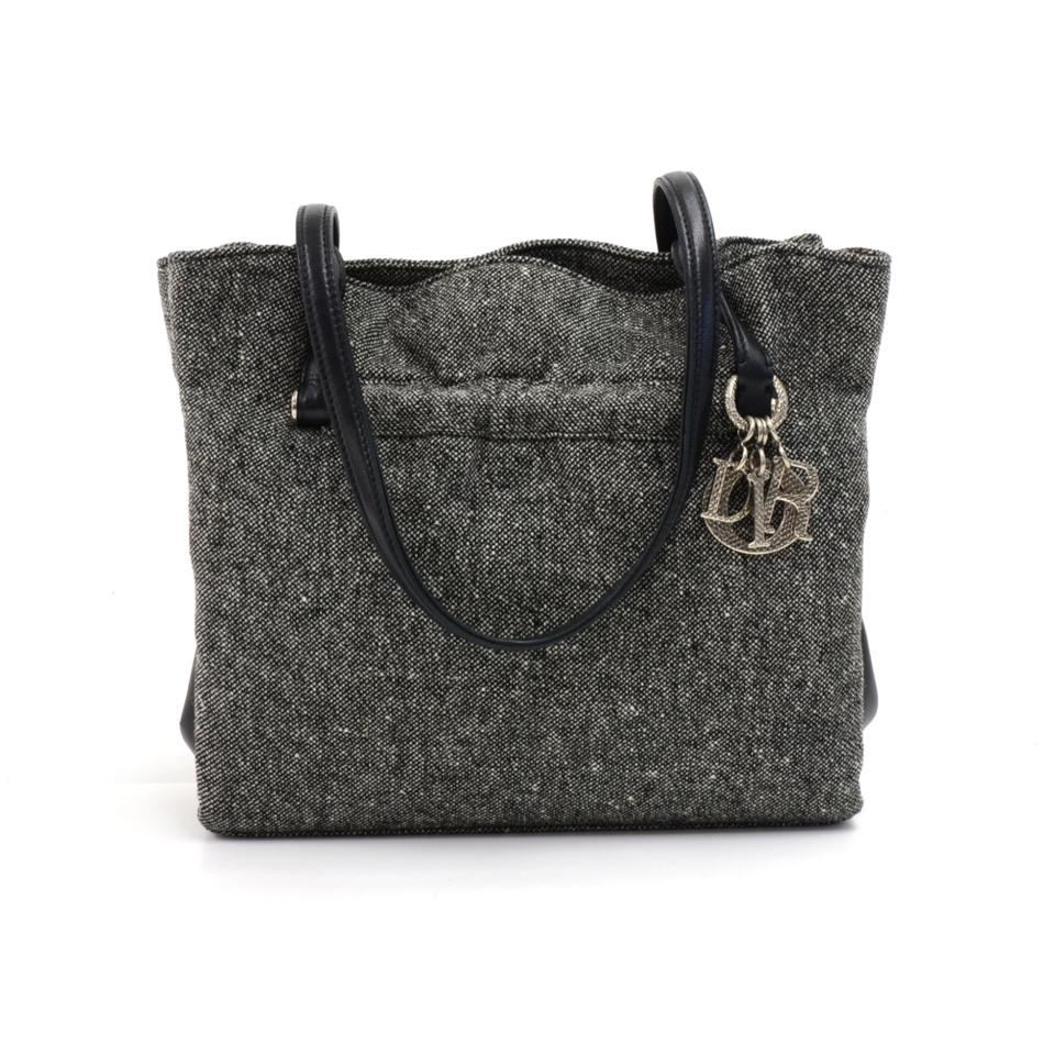 0a8e0ac7f3e Dior Vintage Christian X Black Leather X Lace Purse Gray Wool Shoulder Bag
