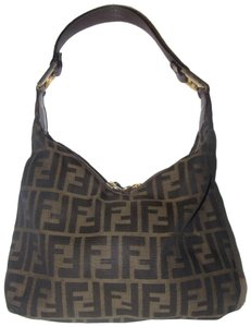 Fendi Large F Logo Print Mint Condition High End Bohemian Rare V Shape Unique Style Hobo Bag