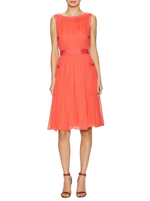 Item - Ocean Coral Letty Silk Pleated A Line Mid-length Night Out Dress Size 12 (L)