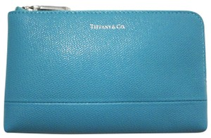 Tiffany & Co. Tiffany & Co. Zip Pouch Wallet Tiffany Blue Textured Leather
