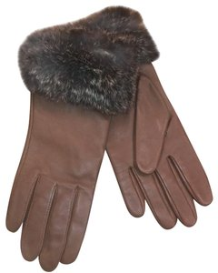 Lord & Taylor Brown leather gloves with rabbit fur trim