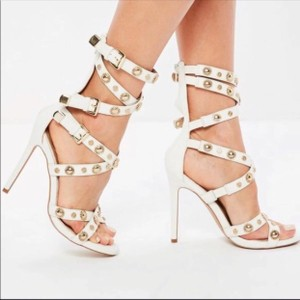 Missguided white and gold Sandals