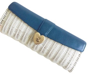 Juicy Couture Straw white and blue Clutch