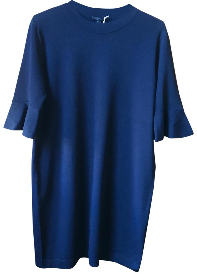 4f716968efea3 COS Navy Blue Flared 3/4 Sleeves Midi Mid-length Work/Office Dress ...