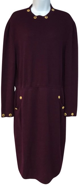 Item - Plum Collection Gold Tone Buttons Mid-length Night Out Dress Size 12 (L)