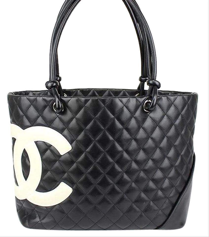 c8ffb1253dcd Chanel Cambon Ligne Quilted with Cc Dustbag Black Calfskin Leather Tote