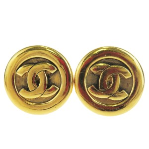 Chanel CHANEL CC Logos Button Earrings Gold-tone Clip-On France
