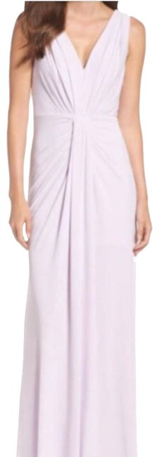 Item - Pale Lilac Jersey Pleated Fit and Flare Gown Long Formal Dress Size 12 (L)