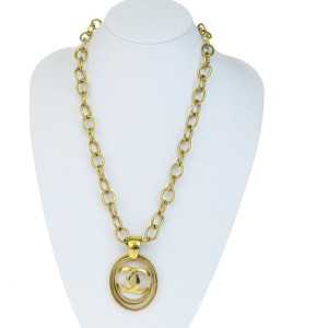 Chanel CHANEL CC Logos Long Chain Pendant Necklace Gold-Tone Accessory