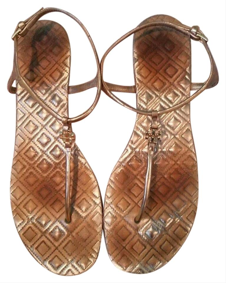 97473c6fc9b7 Tory Burch Gold Marion T Quilted Metallic Leather Strap Sandals. Size  US  9.5 Regular (M ...