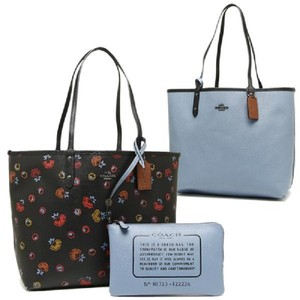 Coach New Reversible Shoulder Tote in Black/Light Blue/Multicolor/Silver