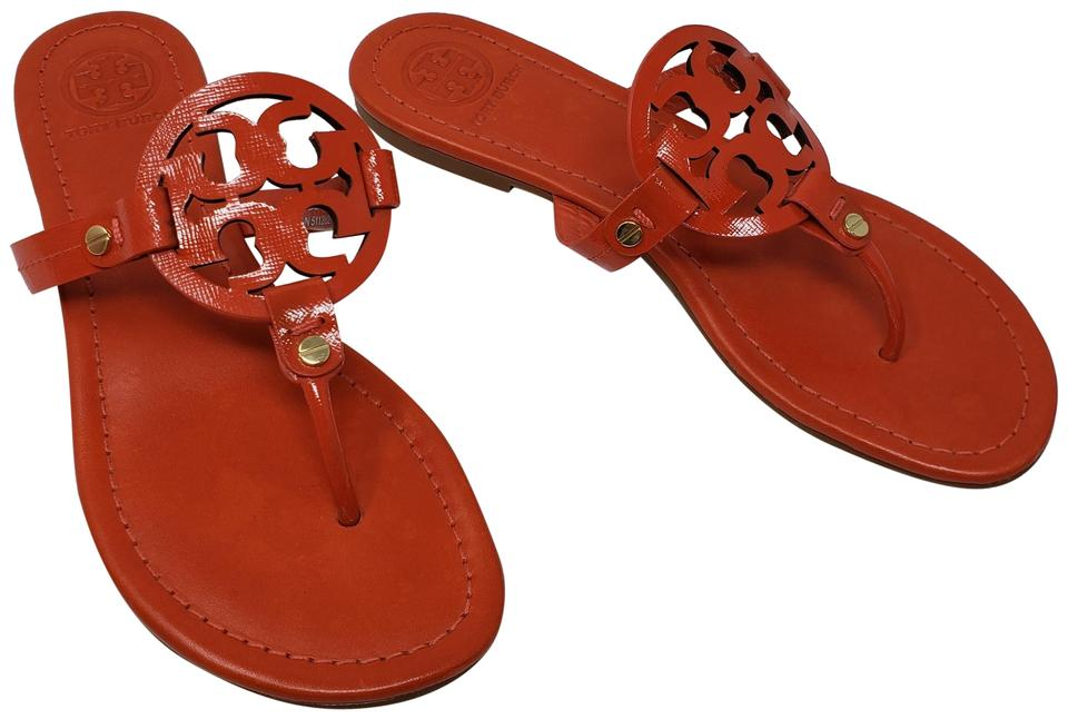 921228882 Tory Burch Orange Red Patent Leather Miller Sandals. Size  US 8 Regular (M  ...