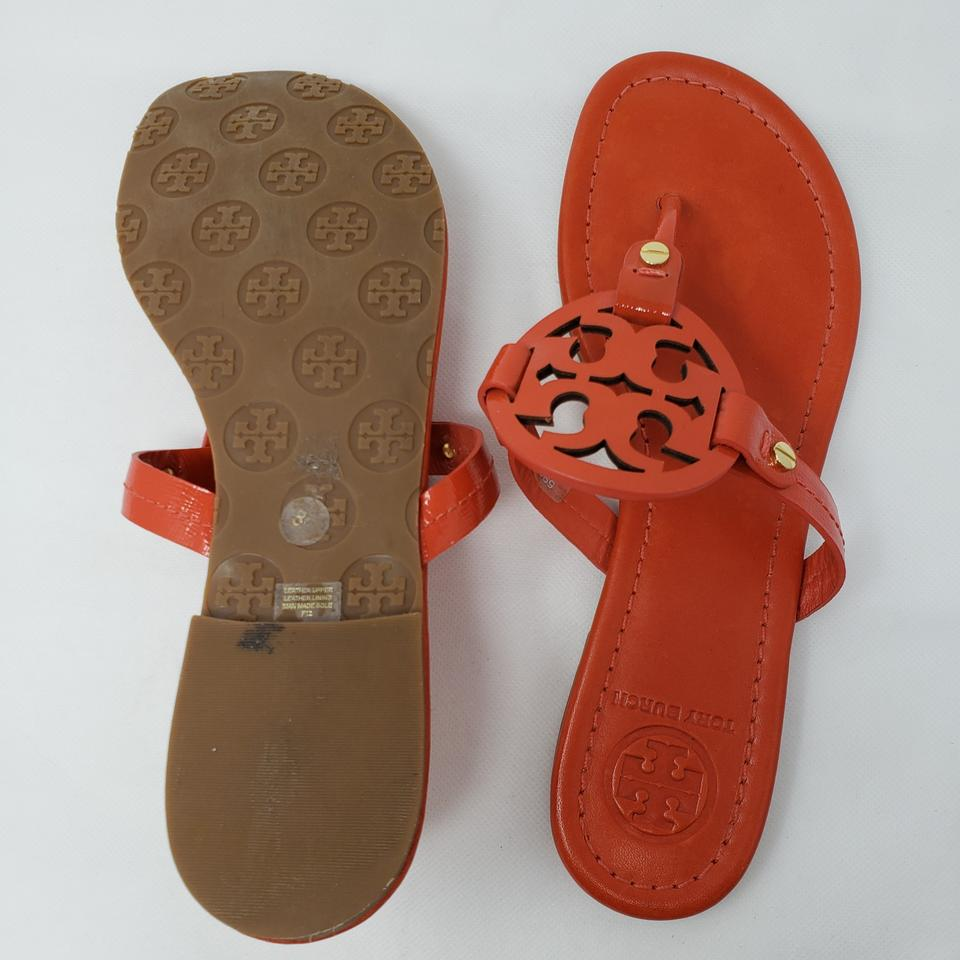 b3902f73f Tory Burch Miller Reva Logo Gold Hardware Patent Leather Orange Sandals  Image 10. 1234567891011